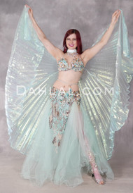 Light Turquoise Beaded Egyptian Tulle Costume