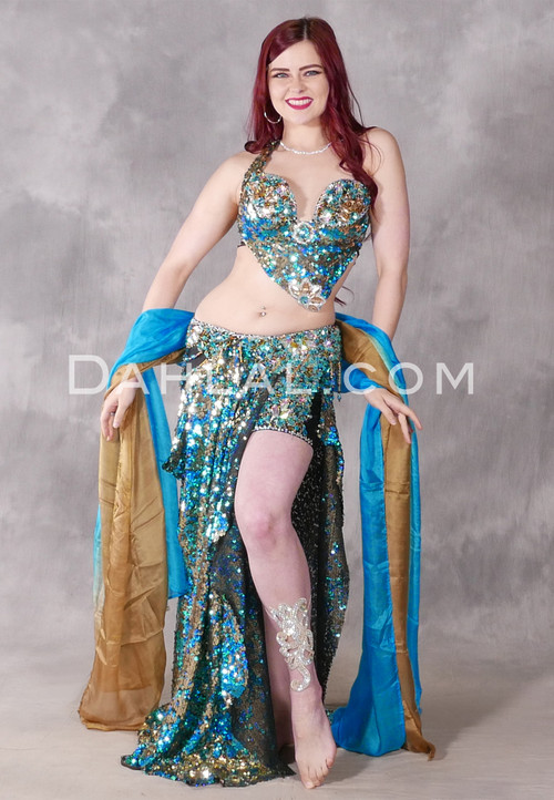 Jeweled Treasure Egyptian Costume in Turquoise, Gold and Silver