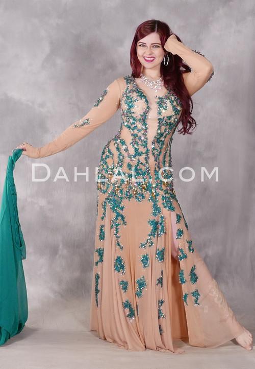 Nile Empress Teal Beaded Egyptian Dress