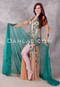 green and nude Egyptian dress