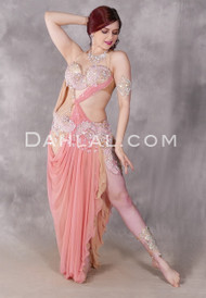 BLUSHING BEAUTY Egyptian Dress - Light Coral, Nude and Silver, Bra Size B/C-C