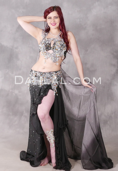 Starlight Silver and Black Egyptian Beaded Costume