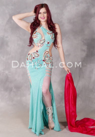 Cerulean Temptress Egyptian Beaded Dress
