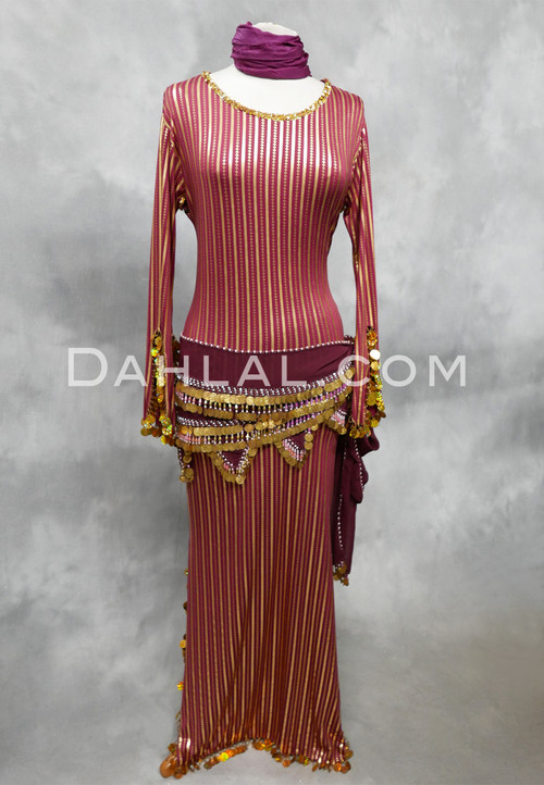 wine and gold Egyptian dress