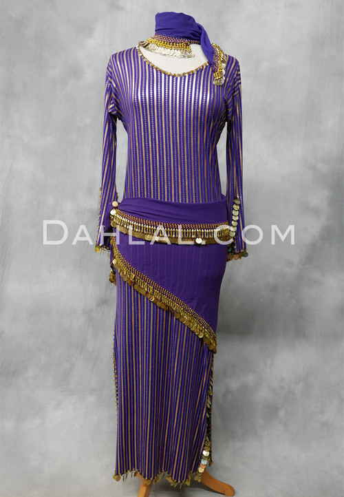 purple and gold dress