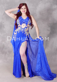 Opalescent Blues Egyptian Beaded Dress