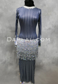 navy and silver saidi dress