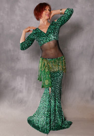 Cleopatra Emerald and Green Glittered Leopard Top and Matching Skirt
