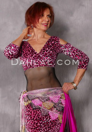 pink and fuchsia leopard print velvet top