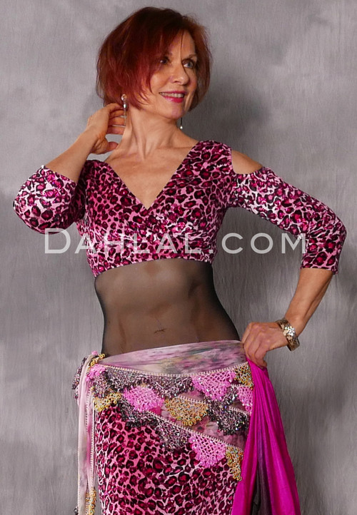 pink and fuchsia leopard print velvet top
