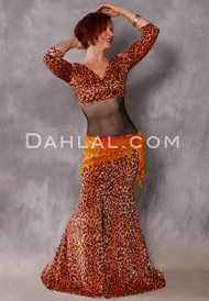 Cleopatra Orange and Copper Glittered Leopard Skirt