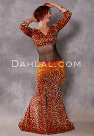Cleopatra Orange and Copper Glittered Leopard Skirt