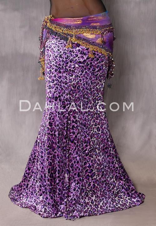 purple leopard print mermaid skirt