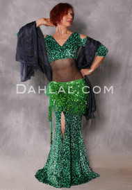 Cleopatra Emerald and Green Glittered Leopard Mermaid Skirt
