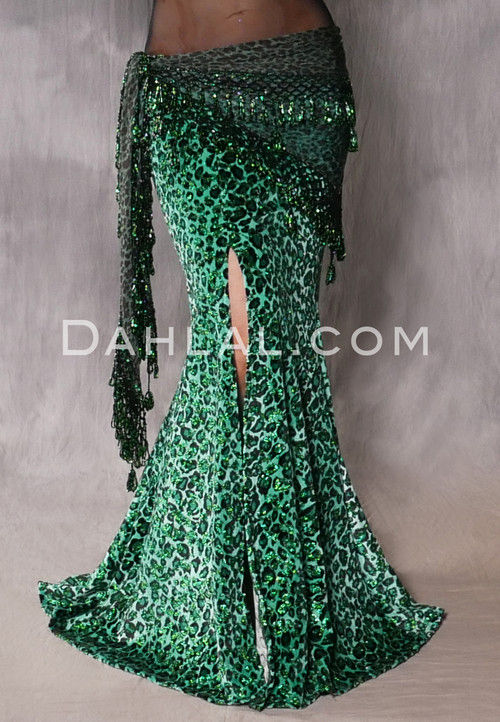 emerald green leopard print mermaid skirt