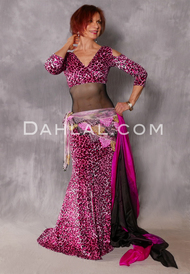 Cleopatra Pink and Fuchsia Glittered Leopard Mermaid Skirt