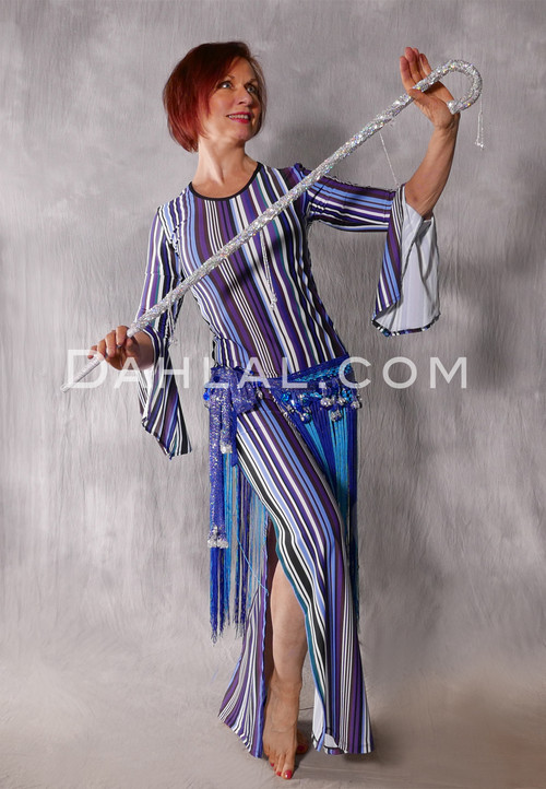Aziza Striped Saidi Dress in Purple and Blue