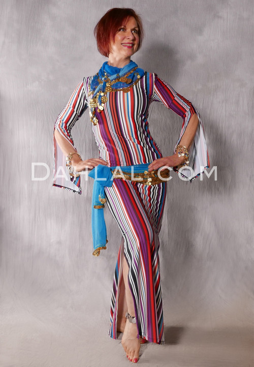 Aziza Striped Saidi Dress in Purple, Red, Black, White and Teal