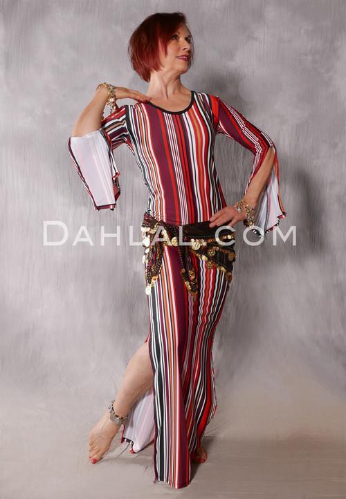 Aziza Striped Dress in Red, Wine, Black , White and Orange