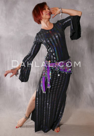 Black Hologaphic Striped Aziza Saidi Dress