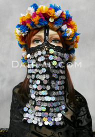crocheted face veil and multi-color head scarf for Melaya