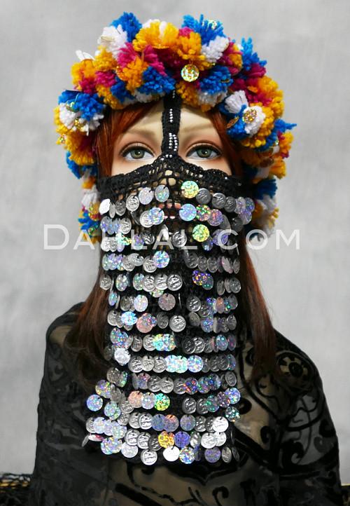 Crocheted Face Veil with Multi-color Head Scarf for Melaya