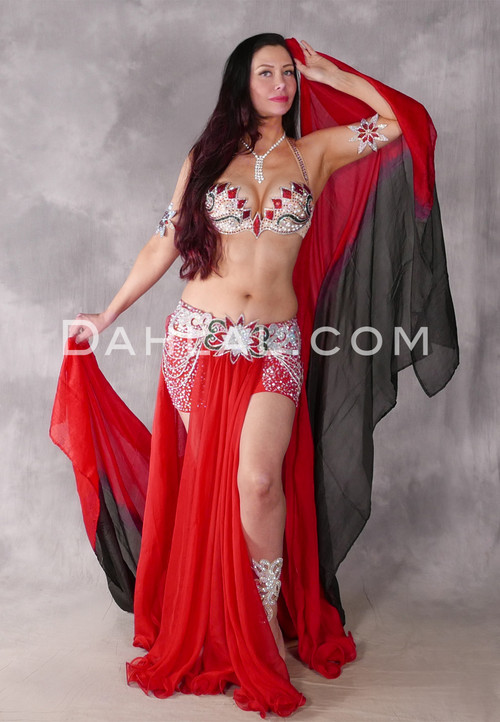 Diamonds Forever Red and Silver Beaded Egyptian Costume