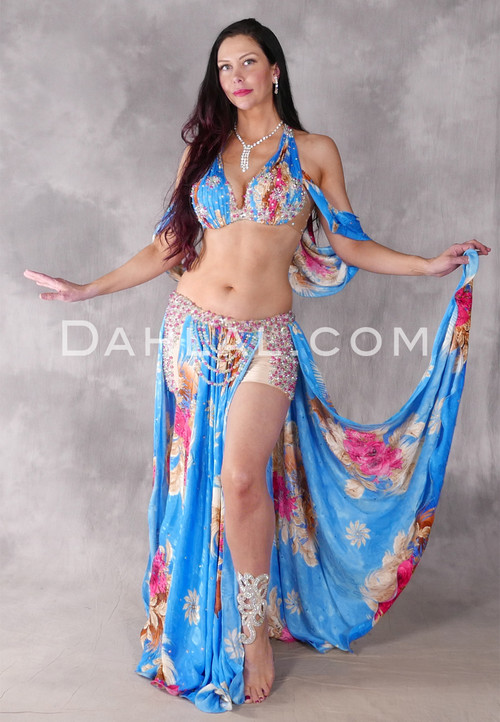 Floral Blues Egyptian Beaded Costume