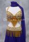 Rhinestone Embellished Gold Bra and Belt Set