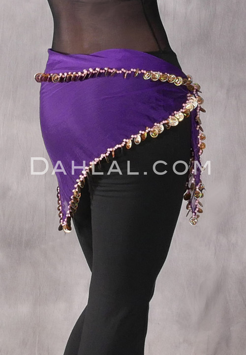 Purple Pearl and Coin Triangular Scarf for Belly Dance