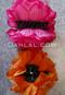 fuchsia and orange flower hair clips