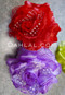red and lavender flower hair clips