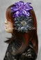 purple and gunmetal sequins hair flower