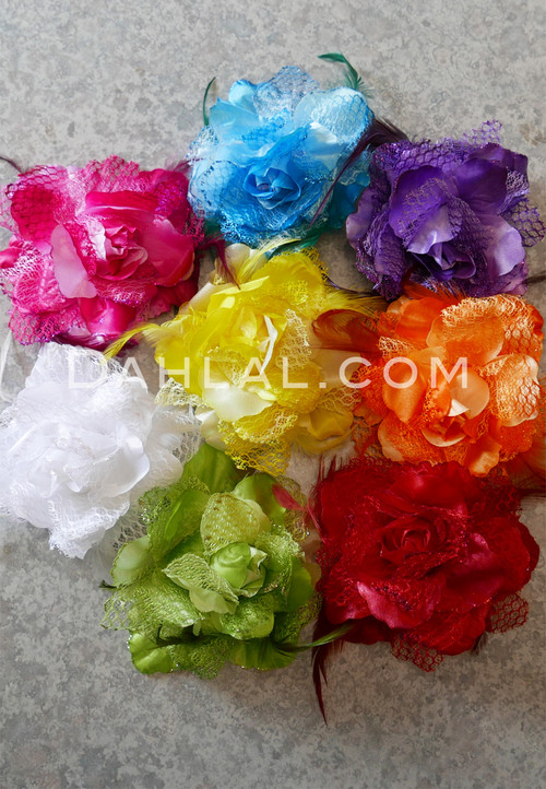 multi-colored hair flowers