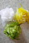 white, yellow and green hair flowers