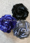 black, navy and gray hair flowers