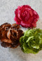rose, chocolate and olive hair flowers