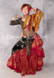 Shown with a Tassel and Fringe Shawl and a Wine and Gold Faux Assuit Tribal Skirt