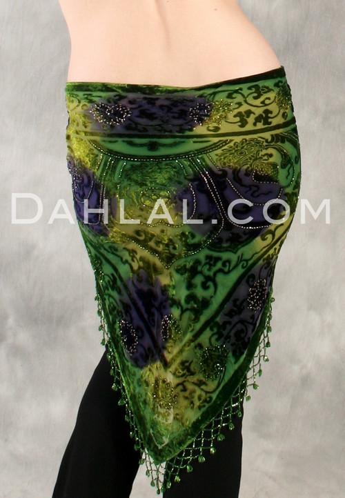 burnout fringe shawl back view