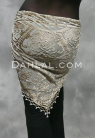 Beaded Velvet Burnout Fringe Shawl, Champagne