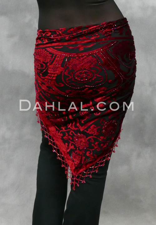 red and black burnout shawl