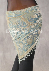 Sage and Aqua Beaded Burnout Velvet Fringe Shawl
