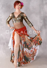 Golden Autumn Double Chiffon Skirt from Egypt