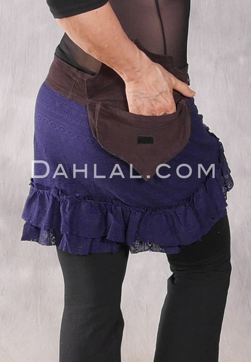 Lace Mini Wrap Skirt with Attached Pocket