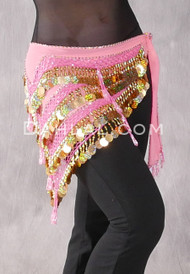 "Pink Deep ""V"" Beaded Paillette Egyptian Hip Scarf"