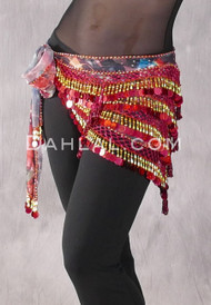 "Deep ""V"" Beaded Paillette Egyptian Hip Scarf in Red with Gold"