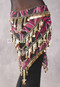 Egyptian Beaded Pyramid Hip Scarf in Rose, Gold and Black