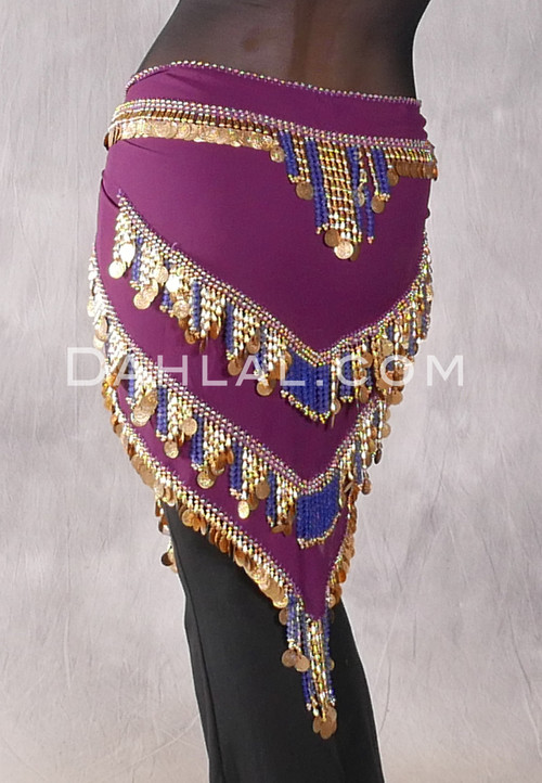 Plum Egyptian Beaded Pyramid Hip Scarf, Style 4