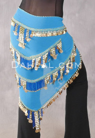 Turquoise Egyptian Beaded Pyramid Hip Scarf, Style 4