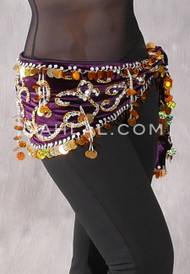 Royal Purple Stretch Velvet Egyptian Beaded Paillette Hip Scarf with Gold and Silver